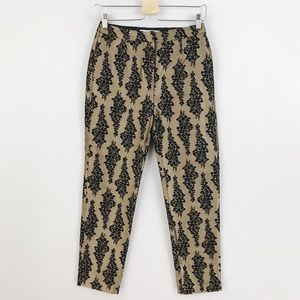 Boden Gold Metallic Black Brocade Dress Pants
